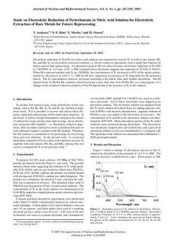 Study on Electrolytic Reduction of Pertechnetate in Nitric Acid ...