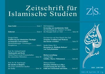 Zeitschrift für Islamische Studien 1. Ausgabe
