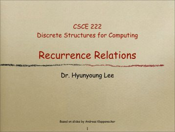 Recurrence Relations - TAMU Computer Science Faculty Pages
