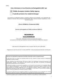 Avis d'émission d'une Directive de Navigabilité (AD)* par X l'EASA ...