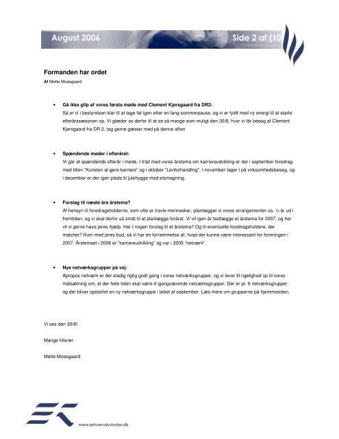 EK Nyt August 2006.pdf - Foreningen af Erhvervskvinder