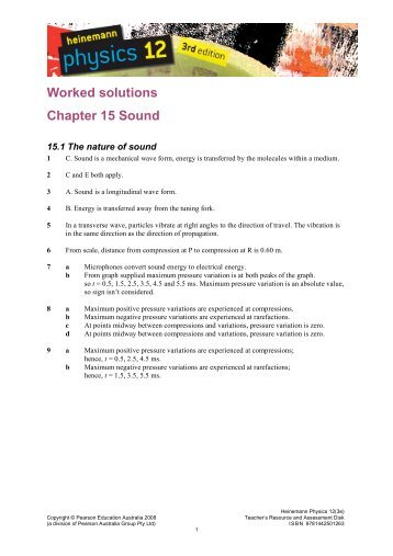 Worked solutions Chapter 15 Sound - PEGSnet