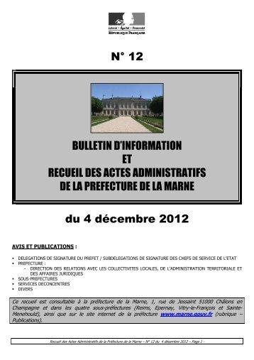Recueil 12-2012 du 4 décembre - Préfecture de la Marne
