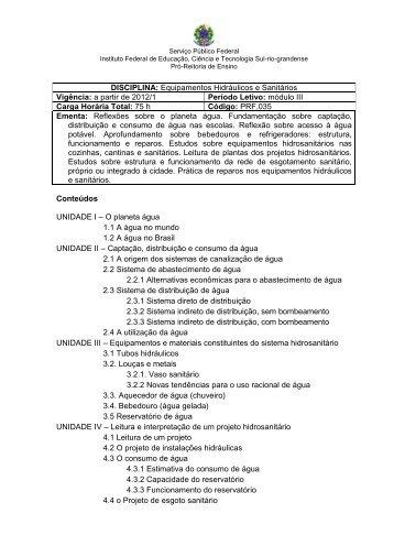 Equipamentos Hidráulicos e Sanitários Vigência: a partir de 2012/1 ...