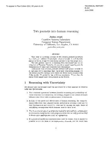 Two journeys into human reasoning Judea Pearl Cognitive Systems ...