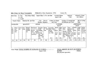 Bill of Entry for Home Consumption - Sa-Dhan