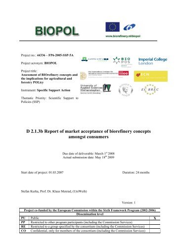 Report of market acceptance of biorefinery concepts amongst ...