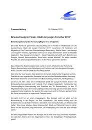 """Braunschweig im Finale """"Stadt der jungen Forscher 2012"""""""