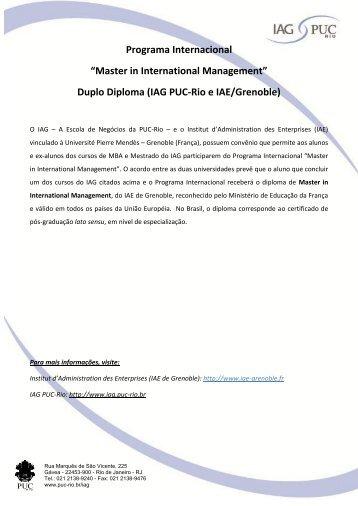 informações - IAG - A Escola de Negócios da PUC-Rio