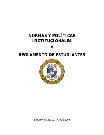 normas y políticas institucionales y reglamento de estudiantes