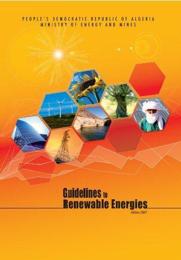 Guidelines to Renewabel Energies - Ministère de l'énergie et des ...