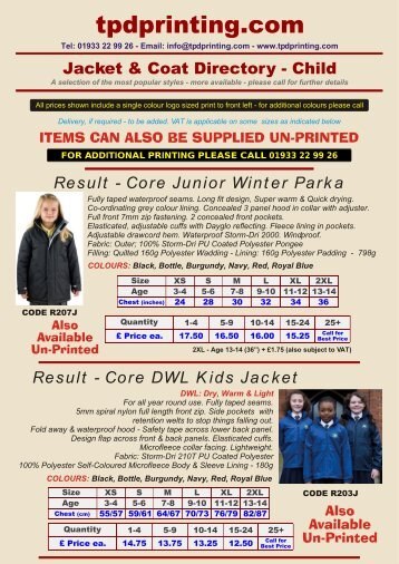 Child Jacket & Coat Directory - tpdprinting.com
