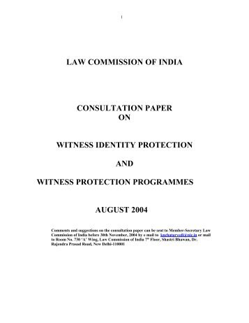 law commission of india consultation paper on witness