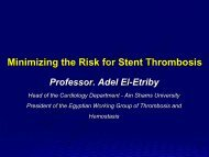Minimizing the Risk for Stent Thrombosis - cardioegypt2011