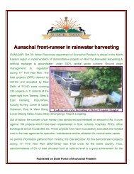 Aunachal front-runner in rainwater harvesting - Arunachal Pradesh