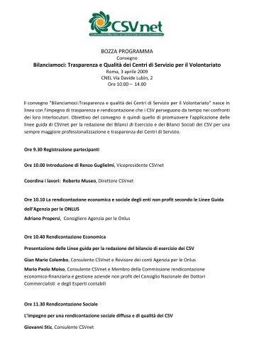 Convegno Bilanciamoci - Centro Servizi Volontariato Salento