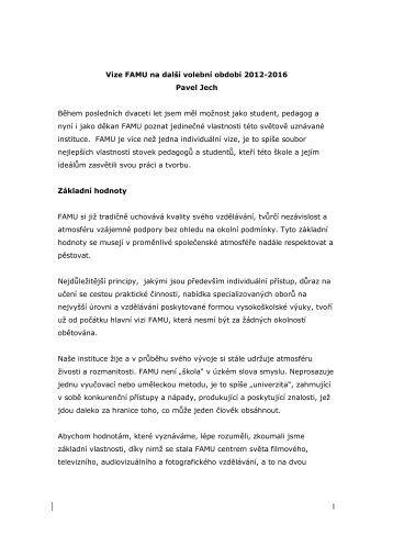 Koncepce dekana 2012-2016 Pavel Jech - FAMU