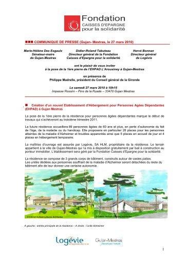 COMMUNIQUE DE PRESSE - Fondation Caisses d'Epargne pour la ...