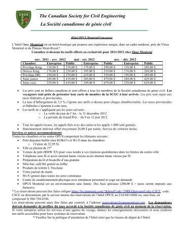 Rabais aux hôtels OPUS - CSCE • Canadian Society for Civil ...