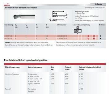 Empfohlene Schnittgeschwindigkeiten - LUKAS-ERZETT