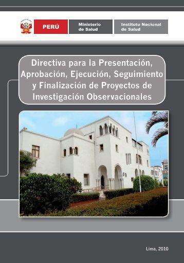 Directiva para la Presentación, Aprobación, Ejecución, Seguimiento ...