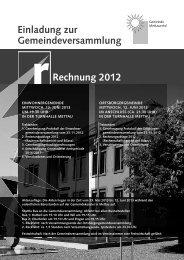 Einladung zur Gemeindeversammlung Rechnung 2012