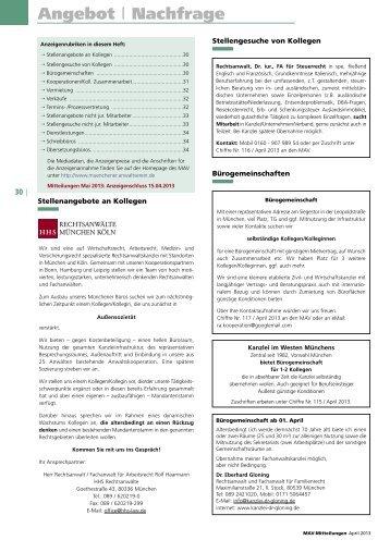 Angebot - Münchener Anwaltverein