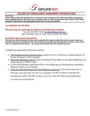 Secure Edi Enrollment Agreement Instructions