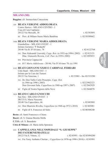 Elenco delle Cappellanie ospedaliere - Chiesa di Milano