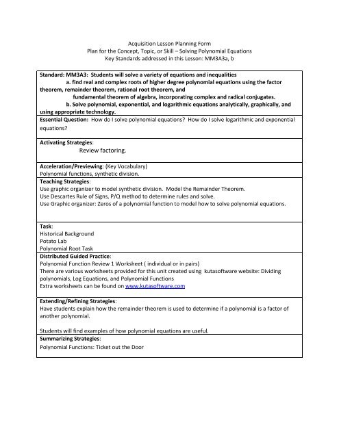 Acquisition Lesson Planning Form - Ciclt net
