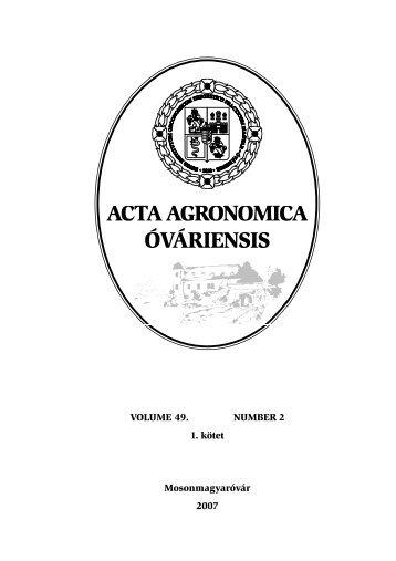 első kötet anyaga - Nyugat-Magyarországi Egyetem Mezőgazdaság