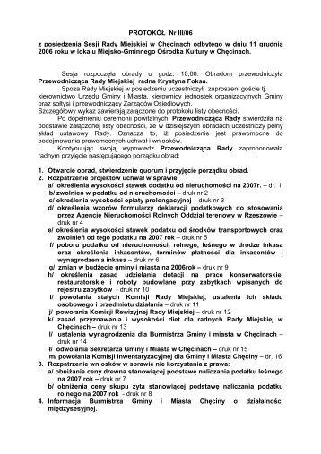 Protokół Nr III/06 - Biuletyn Informacji Publicznej - BIP