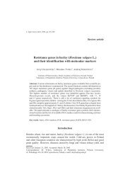 Resistance genes in barley - Journal of Applied Genetics - Poznań