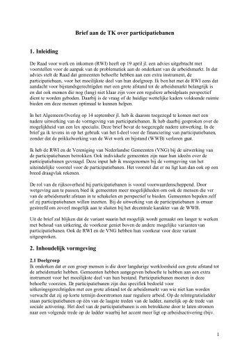 Brief aan de TK over participatiebanen 1. Inleiding 2. Inhoudelijk ...