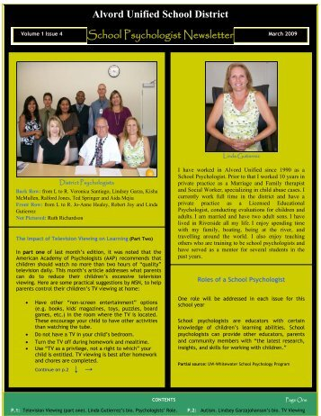 Alvord Unified School District School Psychologist Newsletter