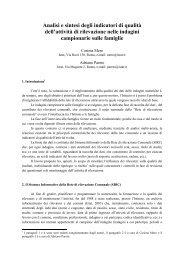 Analisi e sintesi degli indicatori di qualità dell'attività di ... - Istat.it