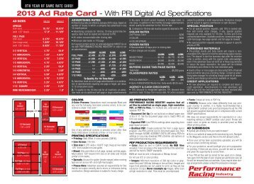 2013 Ad Rate Card - Performance Racing Industry