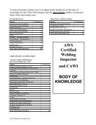 AWS Certified Welding Inspector and CAWI BODY OF KNOWLEDGE