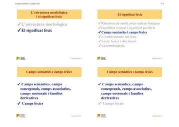 Camps semàntics i camps lèxics - Grup de Fonètica
