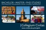 Bachelor Master PhD stuDies - Collegium Civitas