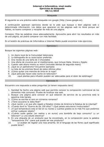 Internet e Informática, nivel medio Ejercicios de búsqueda 08/11 ...