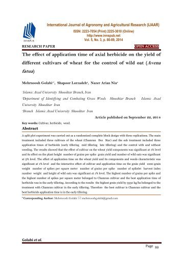 The effect of application time of axial herbicide on the yield of different cultivars of wheat for the control of wild oat (Avena fatua)
