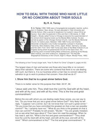how to deal with those who have little or no concern about their souls