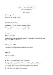 STORIA DEL CRISTIANESIMO Prof. Roberto Osculati a.a. 1991 ...
