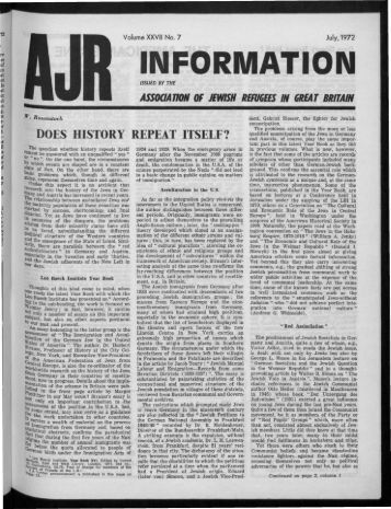 INFORMATION - The Association of Jewish Refugees