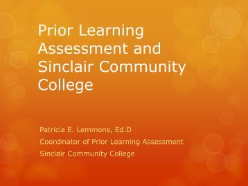 Prior Learning Assessment and Sinclair Community College