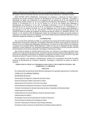NORMA Oficial Mexicana NOM-008-SSA3-2010, Para el tratamiento ...