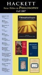 Hackett Philosophy catalog, Fall 2007 - Hackett Publishing Company