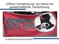 """""""Offene Tierbefreiung"""" als Aktion für gesellschaftliche Tierbefreiung"""