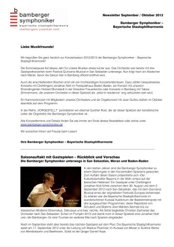 Newsletter September-Oktober 2012 - Bamberg Symphony Orchestra
